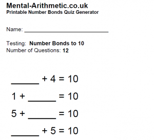 numberbondsworksheet