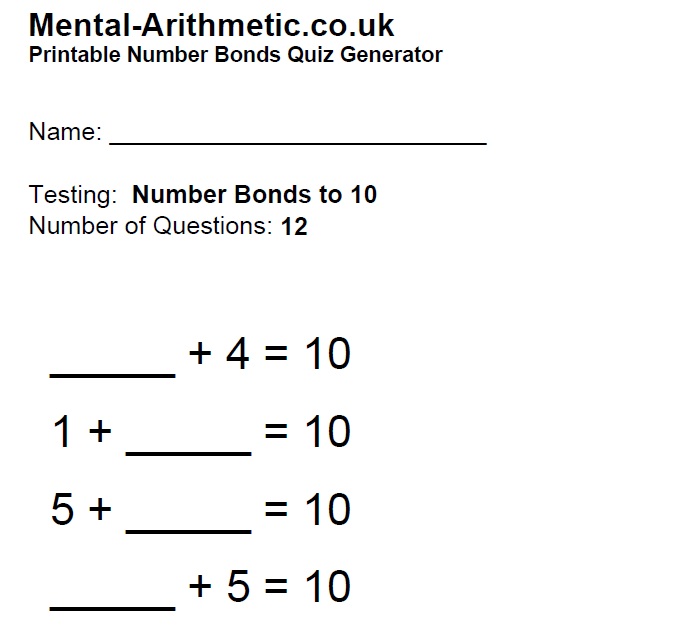 Help With Number Bonds To Ten And Up Games And Tips Dyspraxia Kids